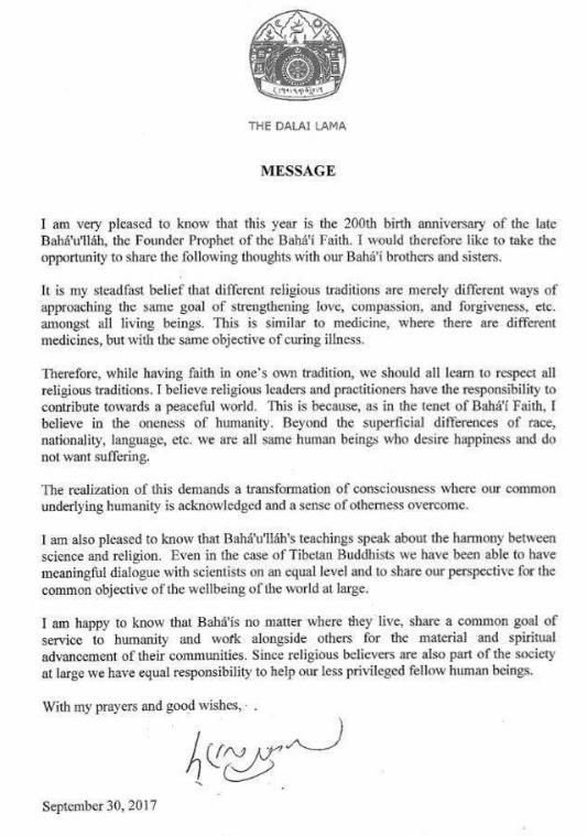 carta SSDL bicentenario bahai